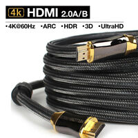 Braided Ultra HD HDMI Cable v2.0 High Speed + Ethernet HDTV 2160p 4K@60Hz 3D US
