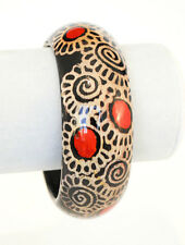"""Wide Wooden Handpainted Bangle Bracelet Swirled Gold Red Black 8"""" - Gift Boxed"""