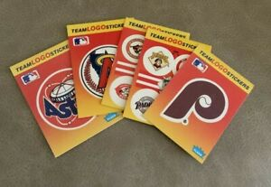 Fleer Team Logo Stickers Set of 5 Phillies Padres Astros Red Sox Angels 1991