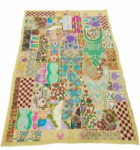 Vintage Handmade Tapestry Embroidered Patchwork Bohemian Hand Wall Hanging