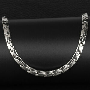 Silver PURE Titanium Ultra Strength Magnets Therapy Energy Necklace Mens Womens