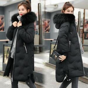 Winter Womens Warm Down Cotton Long Snow Parka Fur Collar Hooded Outwear Jacket