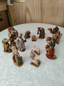 Satz Krippenfiguren Mahlknecht alt antik Holz Weihnachten Jesus Krippe  #1002
