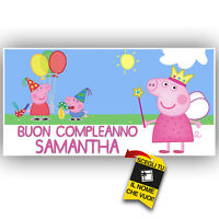 Striscione Banner COMPLEANNO PERSONALIZZATO PEPPA PIG Feste Compleanno Eventi