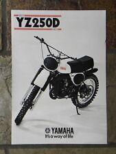 Yamaha YZ250D  Sales Brochure,  1977 Original NOS