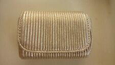 Gold evening makeup cosmetic bag small lined Revlon promo textured near glittery