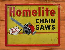 """TIN-UPS TIN SIGN """"Homelite Chain Saws"""" Vintage Rustic Wall Decor"""