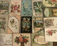 Pretty Lot of 16 Vintage Greetings Postcards w. Lily of the Valley Flowers-b500