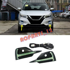 2PCS LED Front Foglights(DRL)White & Yellow & Blue For Nissan Qashqai 2018-2021