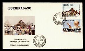 DR WHO 1990 BURKINA FASO FDC POPE JOHN PAUL II VISIT CACHET COMBO  g21919
