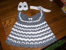 Handmade Crochet Baby Girl Dress Set.Gray and White, fits approx. 0-3 months