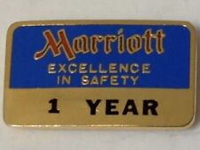 Marriott Excellence In Safety pin brass 1 year award enamel vintage hotel lapel