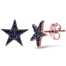 Rose Gold Plated Black Cz Star .925 Sterling Silver Earrings