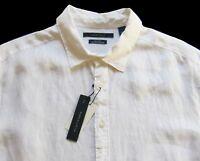 Men's PERRY ELLIS White 100% Linen Shirt 2XB 2X 2XL BIG NWT NEW WOW!