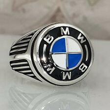 BMW Solid 925 Sterling Silver Mens Ring HandMade A++ Quality All Size