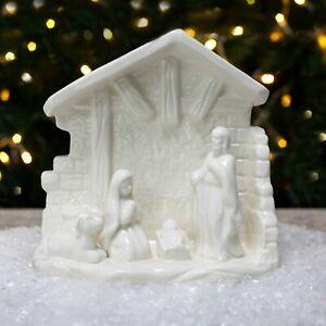 White Porcelain Christmas Nativity Stable Scene Ornament
