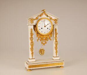 Antique French Baroque mantel clock white marble mercury gilt bronze 18th