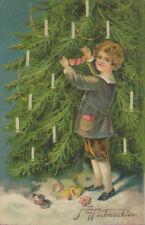 Fröhliche Weihnachten, Lebkuchenherz am Christbaum, Präge-Künstler-Postkarte