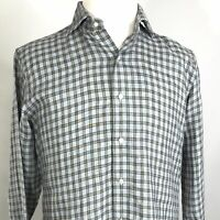 PETER MILLAR 100% LINEN LONG SLEEVE PLAID BUTTON DOWN SHIRT MENS SIZE M