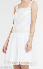 NWT $149 Ann Taylor Embroidered Drop Waist Silk Cotton Dress Size 6