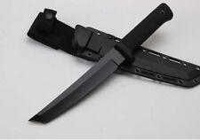 New Black Titanium 5Cr15mov Blade Long Kraton Handle Hunting Knife H50