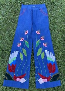 Vintage 1970's Denim Bell Bottom Embroidered + Applique Pants Flowers and Birds