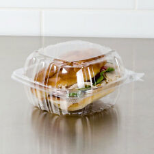 "6""X5-3/4""X3"" CLEAR PLASTIC CONTAINERS, HINGED LID, SANDWICH, TAKE OUT (10 BOXES)"