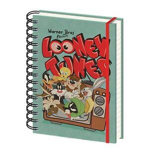Genuine Warner Bros Looney Tunes Retro TV A5 Wiro Hardback Notebook Note Pad