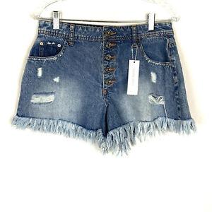 Rue 21 High Rise Shortie Denim Shorts Button Fly Front Back Pockets Girls Sz 8