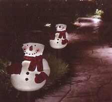 CHRISTMAS HOLIDAY SOLAR LIGHTED SNOWMAN TREE FIGURE LANTERN OUTDOOR YARD STAKE