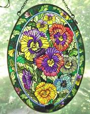 """Hand Painted Pansys on Glass Oval 6.5 x 9"""" Amia Denver Co USA"""