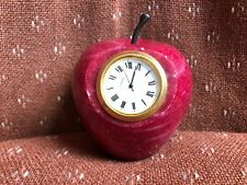 OLD MARBLE ALABASTER AGATE STONE APPLE PAPERWEIGHT CLOCK