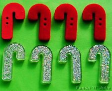GLITTER FELT CANDY CANES - Christmas Sweets Novelty Dress It Up Craft Buttons