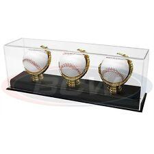 BASEBALL OR CRICKET BALL GOLD GLOVE DISPLAY CASE FOR 3 BALLS