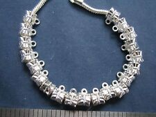 20 bail hangers fit european bracelet silver plate large hole add a charm slide
