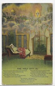 RELIGIOUS POSTCARD,DREAMING OF THE HOLY CITY IN THE CLOUDS