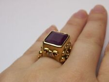 Distefano Antique 18 KT yellow gold ring with Garnet stone and diamonds