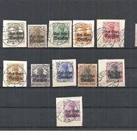 Deutsche Post in Polen, 1916 Michelnrn: 6 - 16 o, gestempelt o, Katalogwert € 38