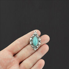 2 Oval Pendant Antique Silver Tone Charms With Imitation Turquoise - SC1210