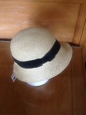 BNWT ACCESSORIZE STRAW HAT /BLACK RIBBON RRP £16 Style#2