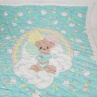 Vintage Childs Precious Moments Quilt Featuring Rainbows and Teddy Bear 43 x 37