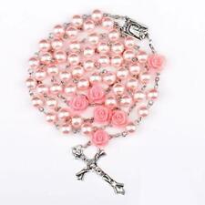 Pink catholic Rosary pearl bead  Girl/women