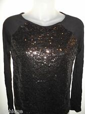 Unbranded S Black Top Long Sleeve Shiny Sequin Party Cocktail Club Sexy Chic