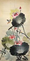 Vintage Chinese Watercolor Lotus Pond Wall Hanging Scroll Painting - Qi Baishi