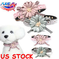 US Dog Cat Puppy Adjustable Leather Flower Necklace Bow Tie Collar Neckerchief