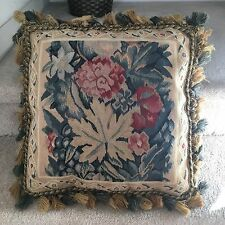 "Blue And Red Floral Aubusson 100% Wool Embroidery Needlepoint Pillow 20""x20"""