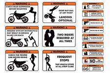 FUNNY WARNING DECAL MX DIRT STICKERS SUZUKI RM/RMZ,KAWSAKI KX250,KTM SX 15 PACK!