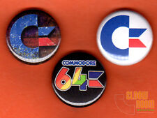 "Set of three 1"" Commodore 64 pins buttons CBM VIC PET C64 personal computer logo"
