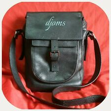 Vintage Mens GG Branded Black Leather Vertical Messenger Sling Crossbody Bag