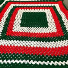 "Christmas Colored Vintage Handmade Square Striped Afghan Throw Squares 84"" x 84"""